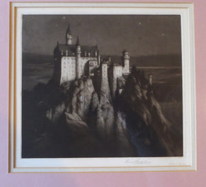 Rare Signed MEZZOTINT by Percival Gaskell. Entitled Neuschwanstein Castle (Mad King's Castle). Published 1913