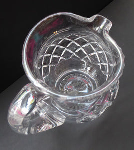 LARGE Vintage Stuart Crystal Lemonade or Water Jug. With simple criss-cross pattern (STU 34).  Height 6 1/2 inches