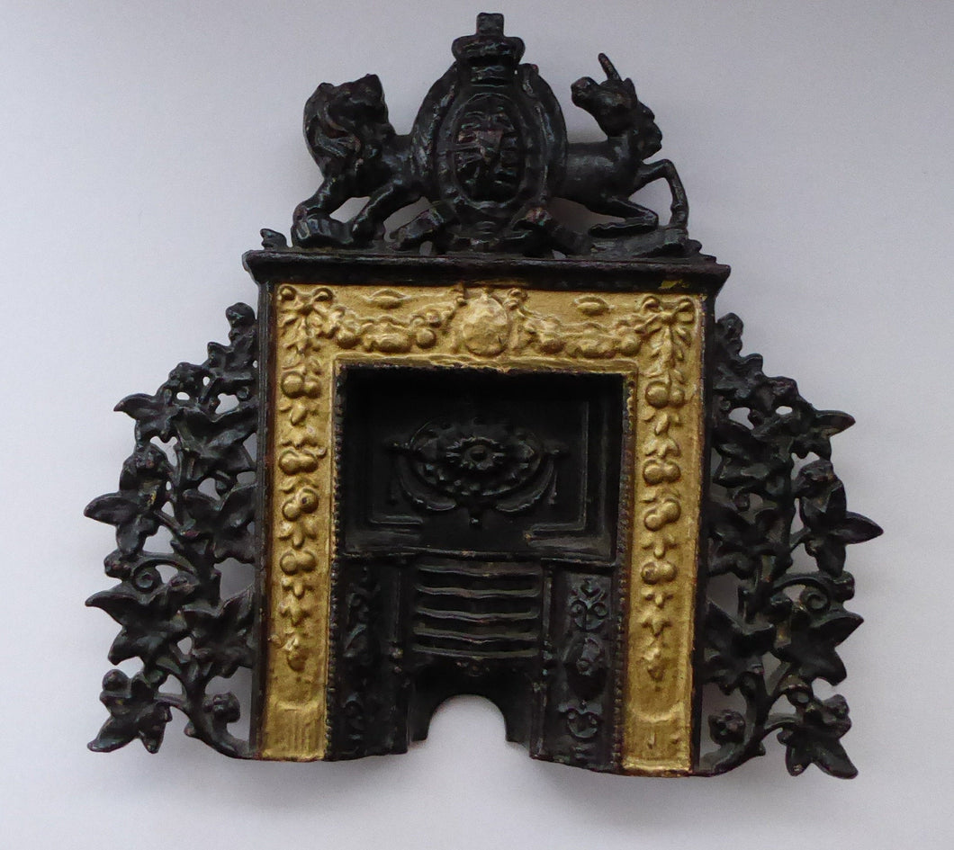 GREENLEES, GLAGOW. Rare ANTIQUE Miniature Salesman's Sample. Cast Iron & Gilt Miniature Fireplace with Royal Crest.
