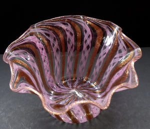 Vintage Venetian / Salviati Murano Glass Latticino Zanfirico Glass Finger Bowl; Gold Inclusions and Frilled Edges