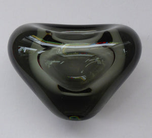 1950s DANISH Holmegaard MENUET Heart Shaped Smoked Glass Vase