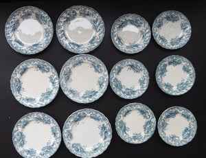 TWELVE Antique BISHOP & STONIER Miniature Child's Nursery Ashley Pattern Plates;  c 1880. Two Sets of Six