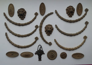 Very Rare Set of Antique Papier Mache Decorative Mouldings: Lions Heads, Garlands and Roses (all in good condition)