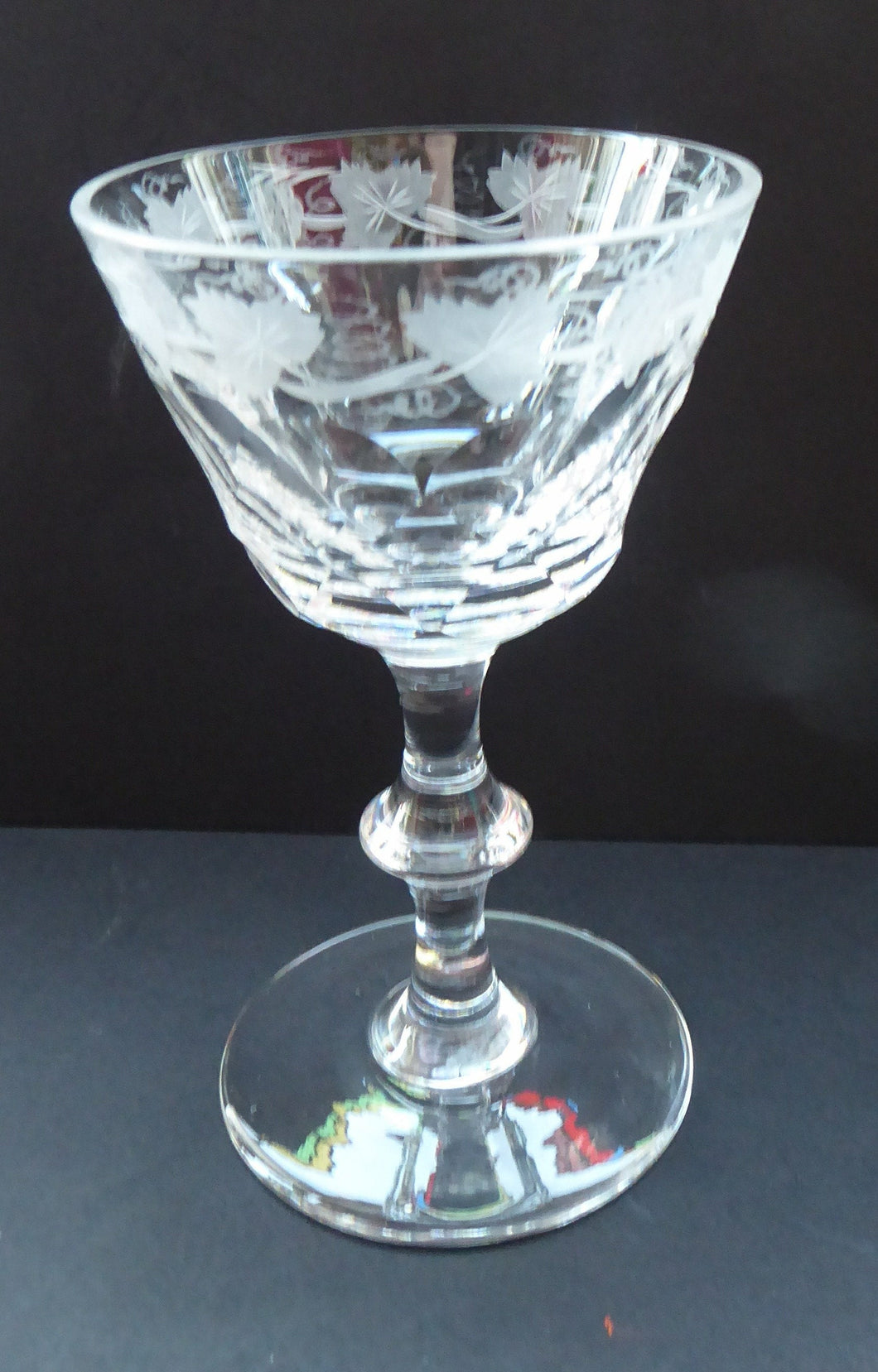 EDINBURGH CRYSTAL Vintage LOCHNAGAR Pattern Sherbet Glass or Cocktail Glass with Engraved Grapes and Vines Decoration. 5 1/8 inches