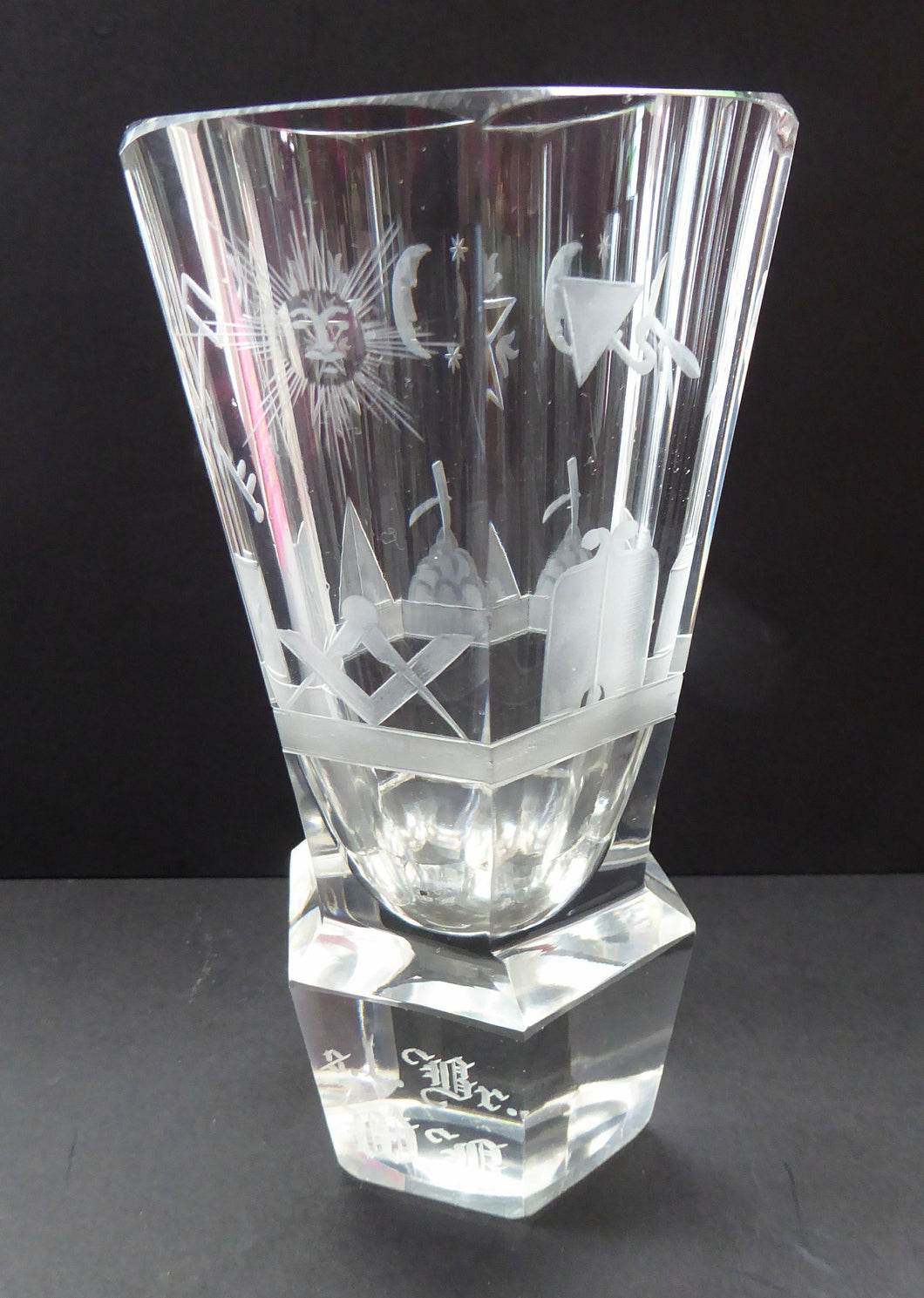LARGE MASONIC Firing Glass - with Heavy Faceted Base and Fabulous Engraved Masonic Symbols: Sun, Pyramid, Dividers Etc