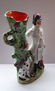 19th Century Staffordshire Figurine. Rare Antique  Flatback Model / Spill Vase of a Gamekeeper and His Dalmatian Dog