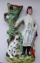 Load image into Gallery viewer, 19th Century Staffordshire Figurine. Rare Antique  Flatback Model / Spill Vase of a Gamekeeper and His Dalmatian Dog