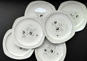 1950s MIDWINTER Set of SIX Side Plates. Collectable FANTASY Pattern. Designed by Jessie Tait in 1953