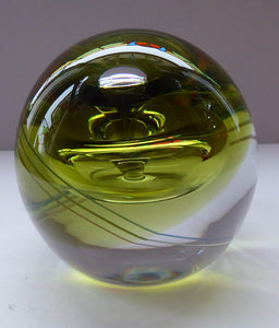SCOTTISH Caithness Glass LIMITED EDITION Paperweight: Chrysalis by Margot Thomson; 1991