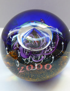 Massive LIMITED EDITION Scottish Caithness Glass Paperweight: MILLENNIUM Voyager by Colin Terris; 2000