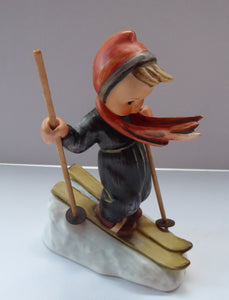 Collectable 1960s Issue. HUMMEL Figurine. The Skier with Original Wooden Skis
