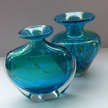 Load image into Gallery viewer, Vintage Mdina Glass Vase. Great Shape with Green-Blue Shade, Flared Neck and Clear Trails to Each Side