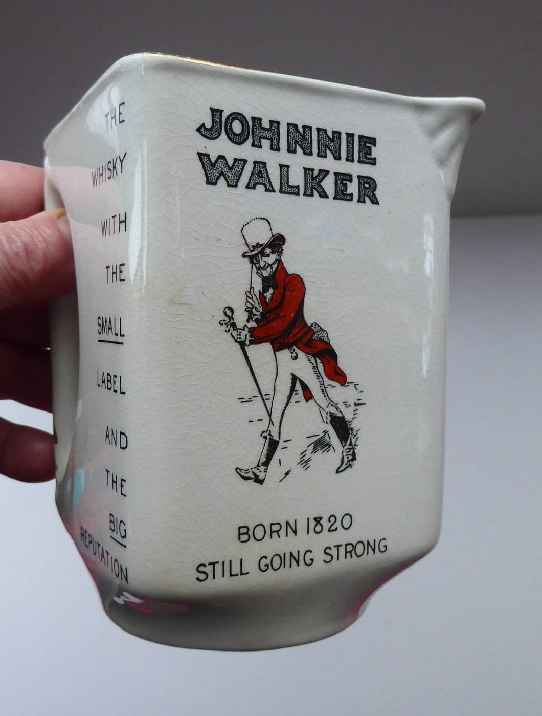 1930s JOHNNIE WALKER Whisky Advertising Jug. Geometric Shape with Handle Built into the Main Body Section