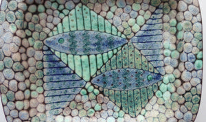 STUDIO POTTERY Heavy Dish or Platter with Srange Fish Design. The Decoration all made of dots to resemble shagreen. Fully signed to the rear