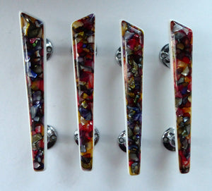 1950s Original Space Age Door Handles. Tutti-Frutti Resin / Lucite with White Backs on Chrome Fitments. Set of Four