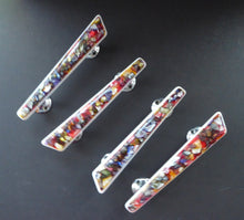 Load image into Gallery viewer, 1950s Original Space Age Door Handles. Tutti-Frutti Resin / Lucite with White Backs on Chrome Fitments. Set of Four