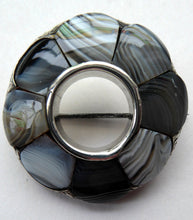 Load image into Gallery viewer, ANTIQUE Victorian Scottish Agate & Silver Pebble Brooch with Halo of Montrose Grey Stones. 1850s