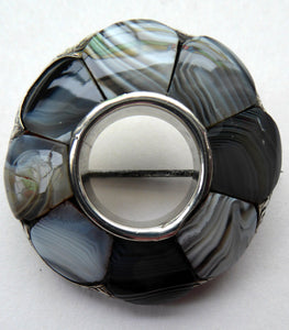 ANTIQUE Victorian Scottish Agate & Silver Pebble Brooch with Halo of Montrose Grey Stones. 1850s