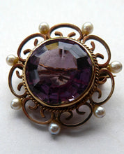 Load image into Gallery viewer, ANTIQUE 9ct Gold Brooch. Beautifully Made Little Gold Brooch Set with Seed Pearls and with Large Faceted Amethyst