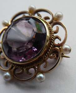 ANTIQUE 9ct Gold Brooch. Beautifully Made Little Gold Brooch Set with Seed Pearls and with Large Faceted Amethyst