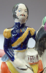 Gorgeous & Rare Pair of STAFFORDSHIRE FIGURES. The Duke and Duchess of Cambridge on Horseback