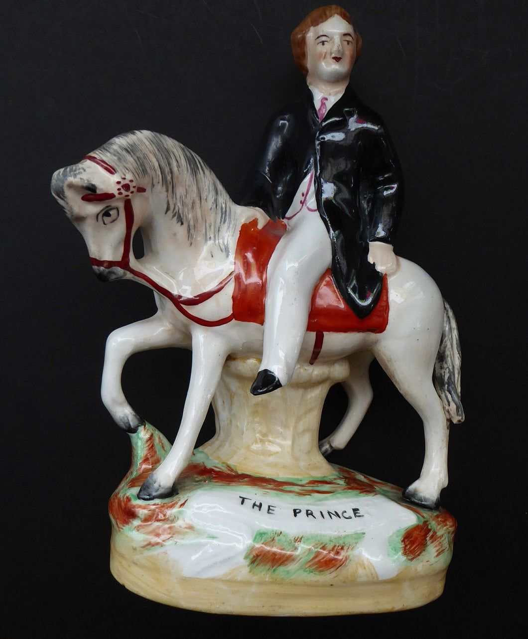 Rare Genuine Antique STAFFORDSHIRE FIGURE. The Prince (of Wales) on Horseback