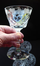 Load image into Gallery viewer, EDINBURGH CRYSTAL Vintage LOCHNAGAR Pattern Sherbet Glass or Cocktail Glass with Engraved Grapes and Vines Decoration. 5 1/8 inches