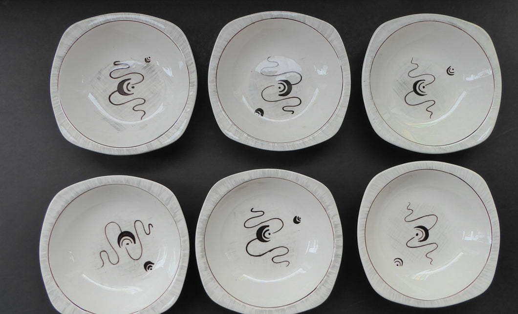 1950s MIDWINTER Small Bowls. Set of SIX. Collectable FANTASY Pattern. Designed by Jessie Tait in 1953