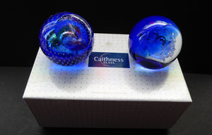 Fabulous Boxed PAIR of Blue Scottish Caithness Glass Paperweight: Vintage Space Age Designs by COLIN TERRIS. Milky Way and Planetarium