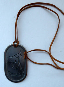 Vintage NORWEGIAN Pewter Pendant with Ancient Cave Carving Images. Original Leather Hanging Thong