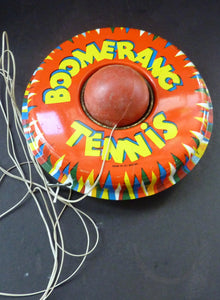 Vintage 1960s Desk Top BOOMERANG TENNIS Tin Plate Toy - with Plastic Ball on String