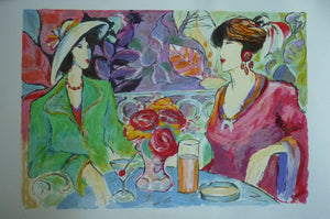 ORIGINAL SCREENPRINT: Pencil Signed; Limited Edition. Two Ladies having Cocktails in a Garden; 1980s