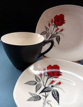 Load image into Gallery viewer, MIDWINTER. Pretty 1960s TRIO - Cup, Saucer & Side Plate. Red Rose Motif. CARMEN Pattern