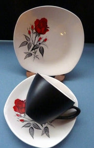 MIDWINTER. Pretty 1960s TRIO - Cup, Saucer & Side Plate. Red Rose Motif. CARMEN Pattern
