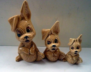 SET of THREE Vintage SYLVAC Rabbits: Complete Set of Rarer Thumper Lop Eared Model 5289, 5290, and 5291