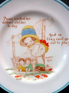 EXTREMELY RARE 1920s Paragon Beatrice Mallet Children's Side Plate: Pam's Washed Her Dollies Clothes