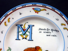 "Load image into Gallery viewer, Extremely Rare Paragon Child's Tea or Side Plate. Animal Alphabet Series. ""M"" stands for Monkey"