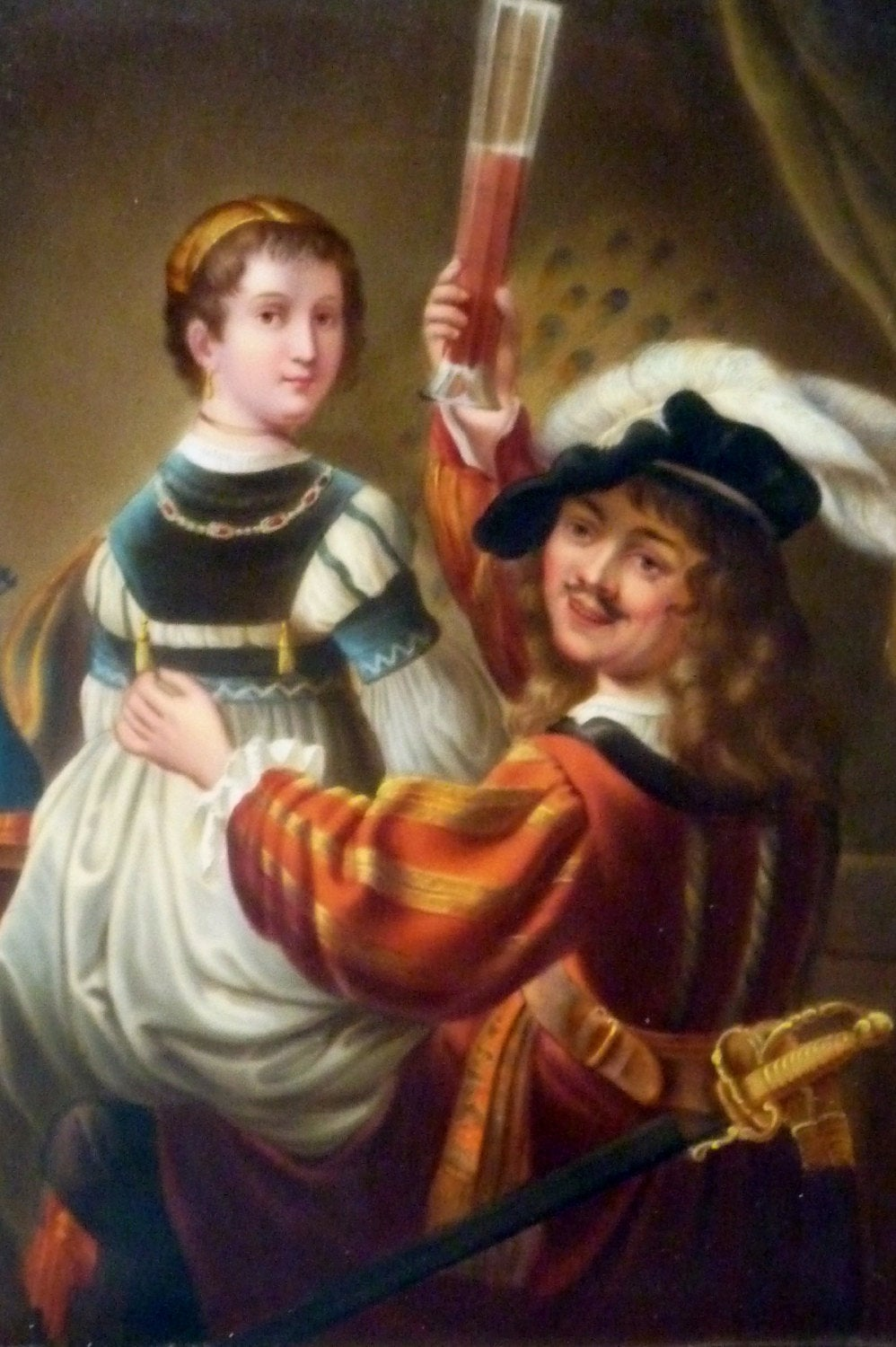 Rembrandt and Saskia ANTIQUE German Porcelain painted PLAQUE. KPM Berlin Style
