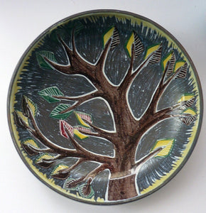 1950s Swedish LAHOLM Bowl with Stylised Image of a Tree.  Attractive Large Scandinavian Vintage Dish