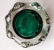Load image into Gallery viewer, Collectable Cornish LISKEARD Glass Bowl. Emerald Centre with Six Knobbly Sides of Cased Clear Glass. Designed by Jim Dyer