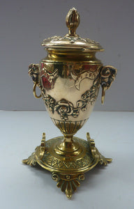 Antique 19th Century Brass Inkwell in the form of a Classical Urn with Ram's Head Handles