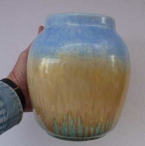 1930s RUSKIN POTTERY Vase with Subtle Powder Blue and Golden Beige Glazes. 7 1/2 inches tall