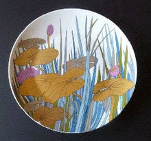 Load image into Gallery viewer, 1970s ROSENTHAL Large Charger by Alain Le Foll Studio Line Wall Plaque, with Gold Water Lilies. 13 inches diameter