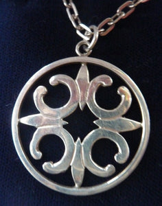 Beautiful Large Vintage 1970s Hallmarked Silver Scottish ORTAK Pendant by Malcolm Gray.