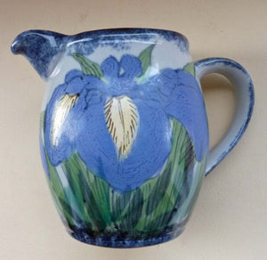 Vintage SCOTTISH Highland Stoneware Jug or Pitcher. Iris Pattern. 6 1/2 inches High