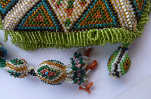 Highly Collectable & Very Beautiful Vintage Beaded Bag or Pouch, Probably Turkish / Ottoman / Eastern European in Origin