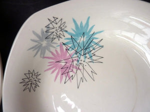 Harder to Source 1950s MIDWINTER Quite Contrary Pattern. Four Shallow Bowls. Designed by Jessie Tate, c 1957