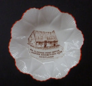 Rare Little SHELLEY Porcelain Pin Dish Souvenir from the Glasgow Empire Exhibition 1938