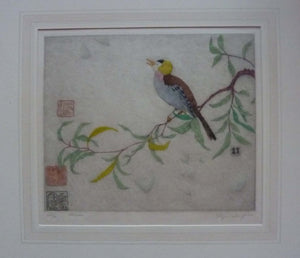 ORIGINAL DRYPOINT Etching / Woodblock Print by Elyse Ashe Lord (British, 1900–1971). Chinese Bird on a Branch, 1930s