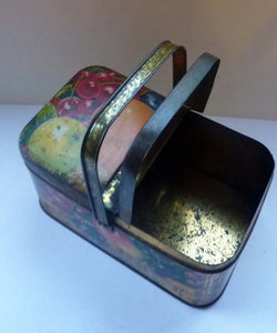 Rare Early 20th Century Small French Tin Picnic Box - with Carrying Handle